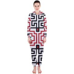 Vintage Style Seamless Black, White And Red Tile Pattern Wallpaper Background Hooded Jumpsuit (Ladies)