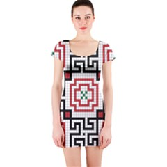 Vintage Style Seamless Black, White And Red Tile Pattern Wallpaper Background Short Sleeve Bodycon Dress