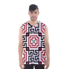Vintage Style Seamless Black, White And Red Tile Pattern Wallpaper Background Men s Basketball Tank Top