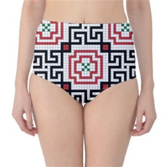 Vintage Style Seamless Black, White And Red Tile Pattern Wallpaper Background High Waist Bikini Bottoms