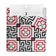 Vintage Style Seamless Black, White And Red Tile Pattern Wallpaper Background Duvet Cover Double Side (full/ Double Size)