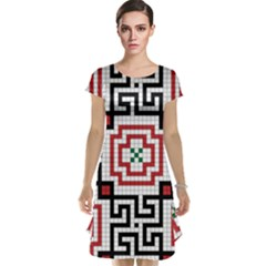 Vintage Style Seamless Black, White And Red Tile Pattern Wallpaper Background Cap Sleeve Nightdress