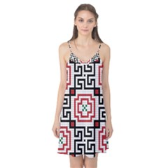 Vintage Style Seamless Black, White And Red Tile Pattern Wallpaper Background Camis Nightgown