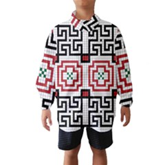 Vintage Style Seamless Black, White And Red Tile Pattern Wallpaper Background Wind Breaker (Kids)