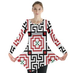 Vintage Style Seamless Black, White And Red Tile Pattern Wallpaper Background Long Sleeve Tunic