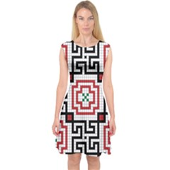 Vintage Style Seamless Black, White And Red Tile Pattern Wallpaper Background Capsleeve Midi Dress
