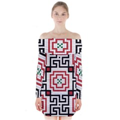 Vintage Style Seamless Black, White And Red Tile Pattern Wallpaper Background Long Sleeve Off Shoulder Dress