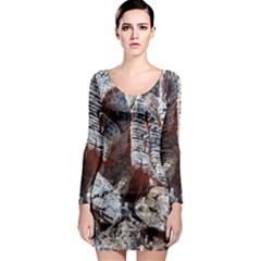 Wooden Hot Ashes Pattern Long Sleeve Bodycon Dress