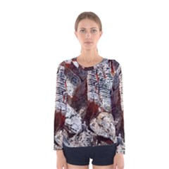 Wooden Hot Ashes Pattern Women s Long Sleeve Tee