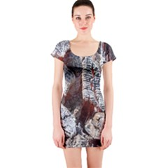 Wooden Hot Ashes Pattern Short Sleeve Bodycon Dress