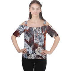 Wooden Hot Ashes Pattern Women s Cutout Shoulder Tee