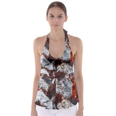 Wooden Hot Ashes Pattern Babydoll Tankini Top