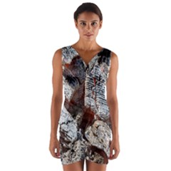 Wooden Hot Ashes Pattern Wrap Front Bodycon Dress
