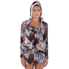 Wooden Hot Ashes Pattern Women s Long Sleeve Hooded T Shirt