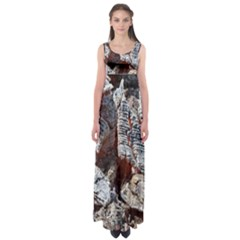 Wooden Hot Ashes Pattern Empire Waist Maxi Dress