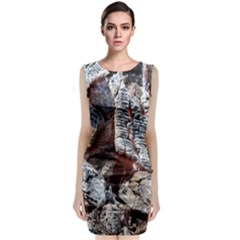 Wooden Hot Ashes Pattern Classic Sleeveless Midi Dress
