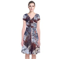 Wooden Hot Ashes Pattern Short Sleeve Front Wrap Dress