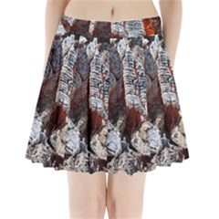 Wooden Hot Ashes Pattern Pleated Mini Skirt