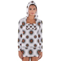 Pearly Pattern Half Tone Background Women s Long Sleeve Hooded T Shirt