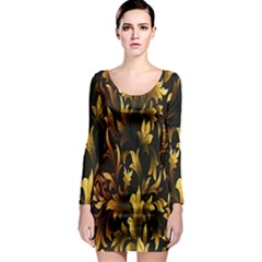 Loral Vintage Pattern Background Long Sleeve Bodycon Dress