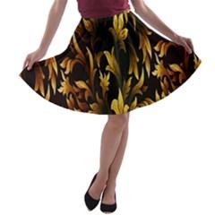 Loral Vintage Pattern Background A-line Skater Skirt