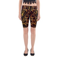 Loral Vintage Pattern Background Yoga Cropped Leggings