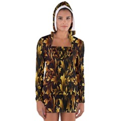 Loral Vintage Pattern Background Women s Long Sleeve Hooded T Shirt