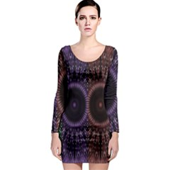 Digital Colored Ornament Computer Graphic Long Sleeve Bodycon Dress