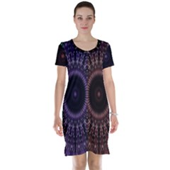 Digital Colored Ornament Computer Graphic Short Sleeve Nightdress