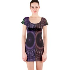 Digital Colored Ornament Computer Graphic Short Sleeve Bodycon Dress