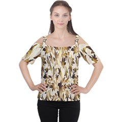 Floral Vintage Pattern Background Women s Cutout Shoulder Tee