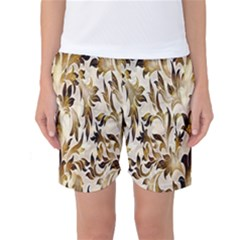 Floral Vintage Pattern Background Women s Basketball Shorts