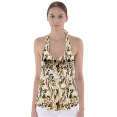 Floral Vintage Pattern Background Babydoll Tankini Top