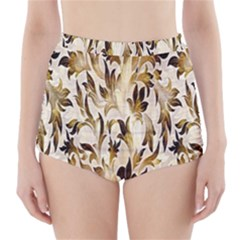 Floral Vintage Pattern Background High Waisted Bikini Bottoms