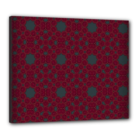 Blue Hot Pink Pattern With Woody Circles Canvas 24  X 20