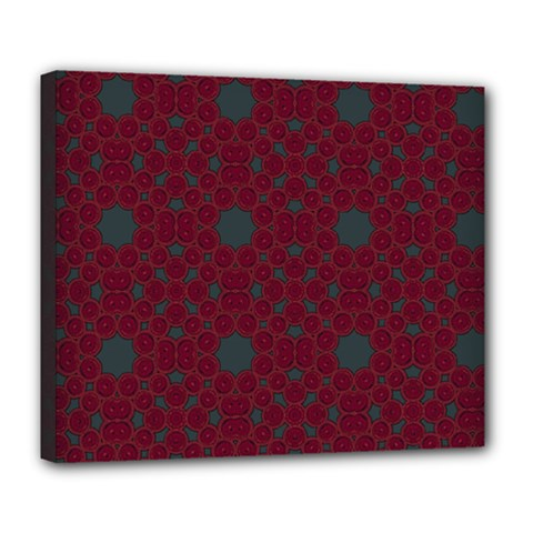 Blue Hot Pink Pattern With Woody Circles Deluxe Canvas 24  x 20