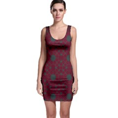 Blue Hot Pink Pattern With Woody Circles Sleeveless Bodycon Dress