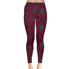 Blue Hot Pink Pattern With Woody Circles Leggings