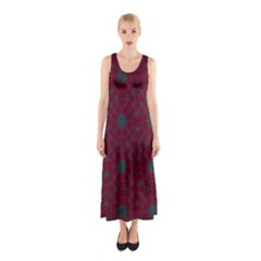 Blue Hot Pink Pattern With Woody Circles Sleeveless Maxi Dress
