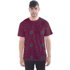 Blue Hot Pink Pattern With Woody Circles Men s Sport Mesh Tee
