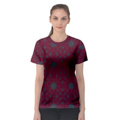 Blue Hot Pink Pattern With Woody Circles Women s Sport Mesh Tee
