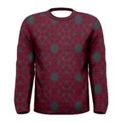 Blue Hot Pink Pattern With Woody Circles Men s Long Sleeve Tee
