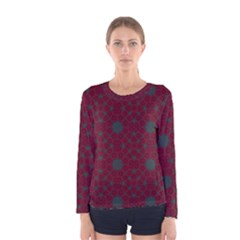 Blue Hot Pink Pattern With Woody Circles Women s Long Sleeve Tee