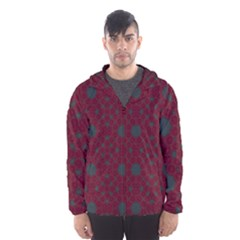 Blue Hot Pink Pattern With Woody Circles Hooded Wind Breaker (Men)