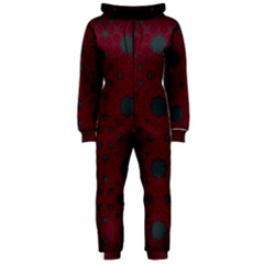 Blue Hot Pink Pattern With Woody Circles Hooded Jumpsuit (ladies)