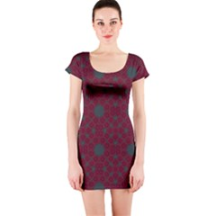 Blue Hot Pink Pattern With Woody Circles Short Sleeve Bodycon Dress