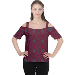 Blue Hot Pink Pattern With Woody Circles Women s Cutout Shoulder Tee
