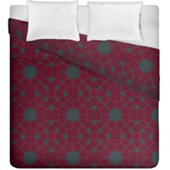 Blue Hot Pink Pattern With Woody Circles Duvet Cover Double Side (king Size)
