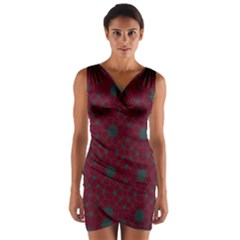 Blue Hot Pink Pattern With Woody Circles Wrap Front Bodycon Dress