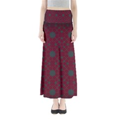 Blue Hot Pink Pattern With Woody Circles Maxi Skirts